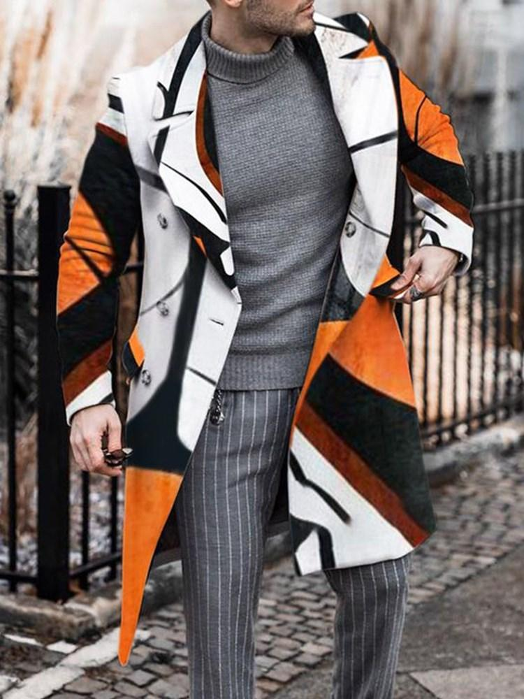 Long Color Block Button Straight Double-Breasted Coat