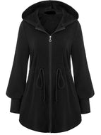 Mid-length jacket with hood and collar and zipper