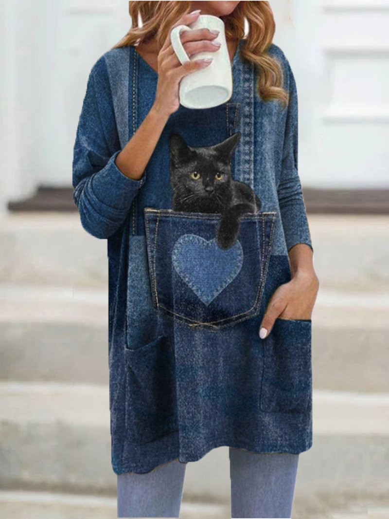 Cat Print Long Top
