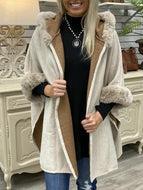 Solid color plush thick cardigan long sleeve hooded jacket for fall and winter