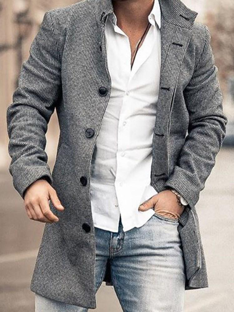 Button Plain Mid-Length Single-Breasted OL Coat