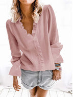 Casual Ruffle V-neck Long Sleeve Tops Blouse