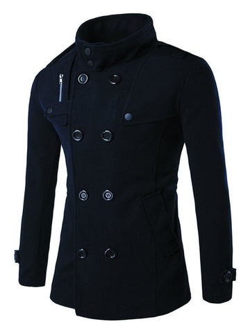 Men's Double Breasted Zipper Stand Collar Coat Jacket
