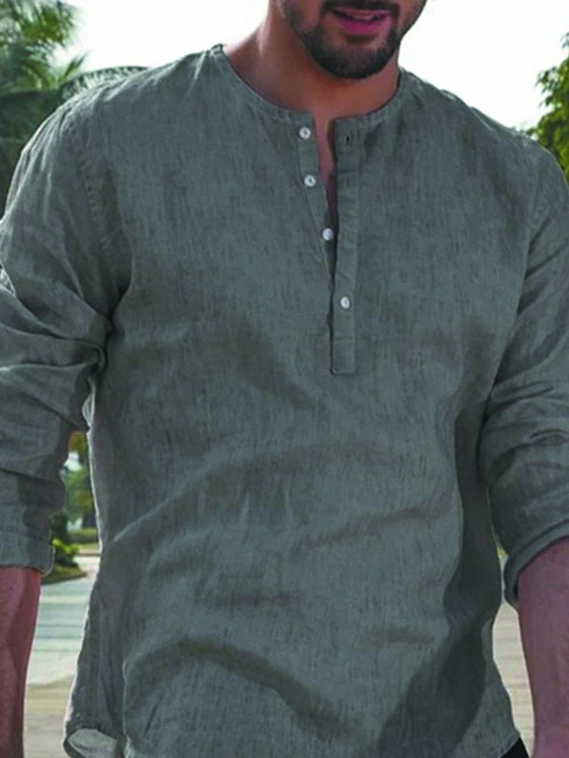 Solid Color Half Sleeve Button V-neck Casual Shirt
