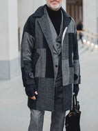 Paneled Plaid Coat