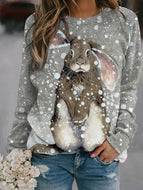 Women's Snowflake Rabbit Print Sweatshirt Tops