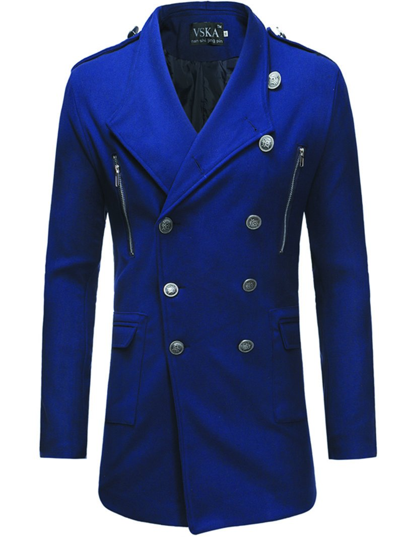 Men's Double-breasted Lapel Mid-length Trench Coat