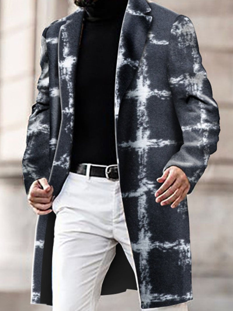 Printed Lapel Woolen Mid-length Coat Jacket