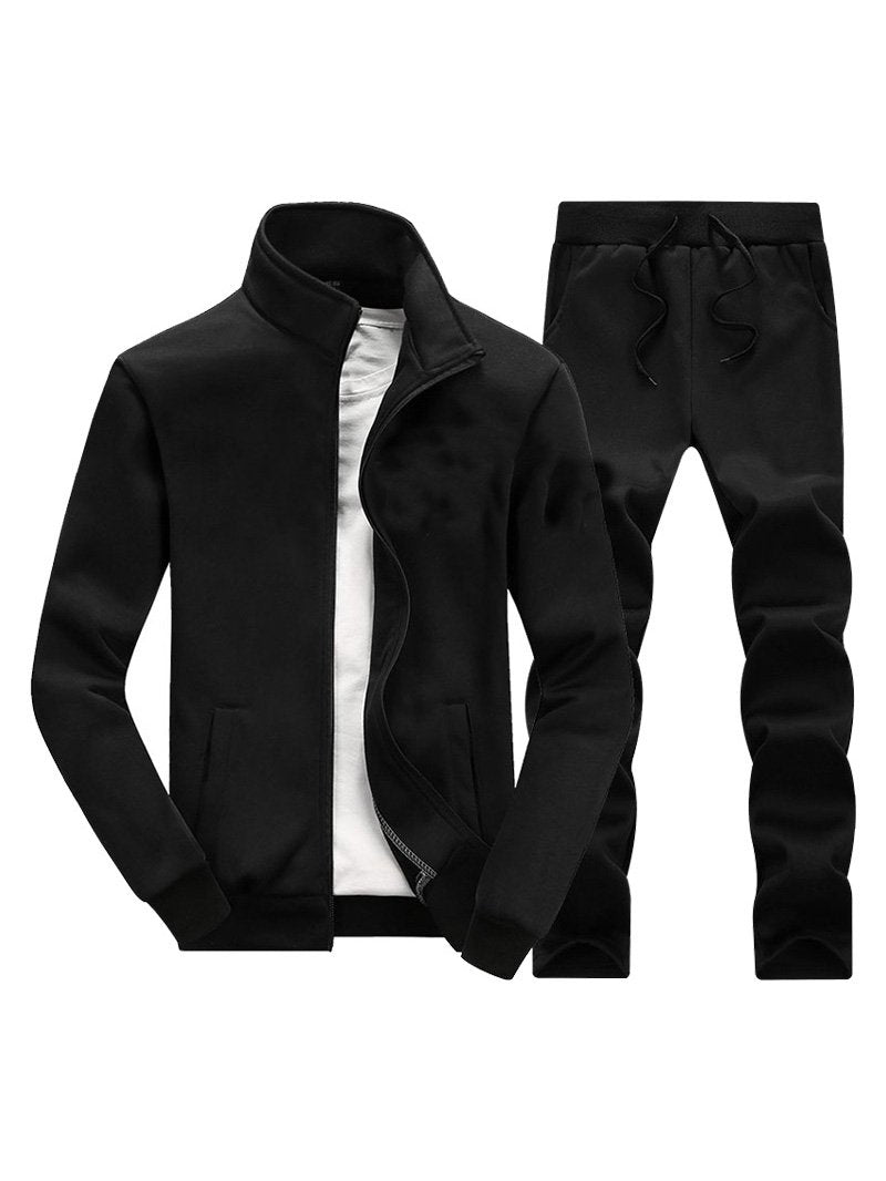Pure Color Sports Jacket Casual Loose Trousers Sports Two-piece Suit