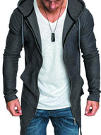 Men's Mid-length Dovetail Zipper Sweater Cardigan