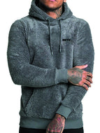 Men's Solid Color Fleece Hooded Pullover Sweater