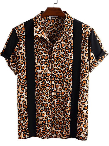 Men's Leopard Print Short Sleeve Shirt