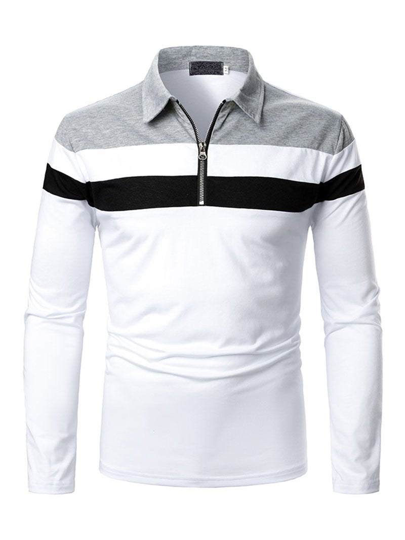 Three-color Stitching Long Sleeve POLO