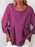 Solid Color Loose Cotton and Linen Double Pocket Top