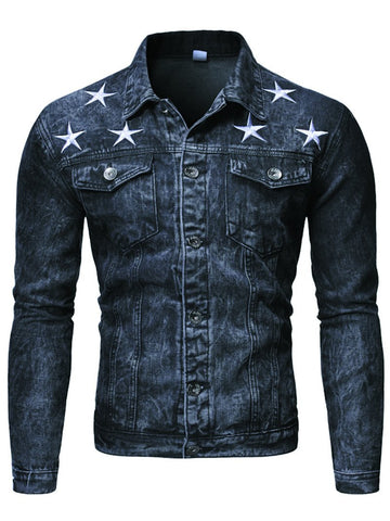 Men's Washed Denim Jacket with Printed Pockets