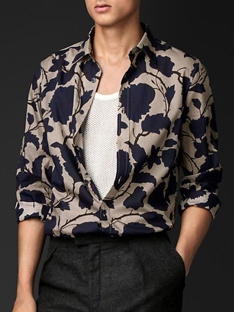 Fashion Big Flower Print Lapel Shirt