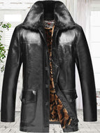 Mid-length Plus Velvet Thick Leather Jacket