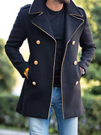 Men's Woolen Stand Collar Mid-length Casual Jacket with Pockets