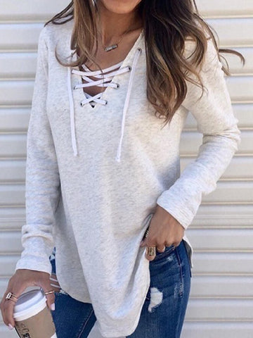 Autumn/winterNew Style Solid Color V-neck Strapped Loose Top