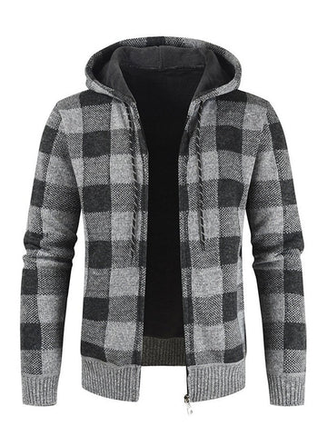 Hooded Casual Plaid Knitted Jacket