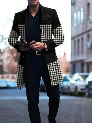 Mens Black Patchwork Houndstooth Coat