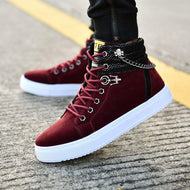 Pure Color Stitching Fashion Chain High-top Casual Men's Canvas Shoes