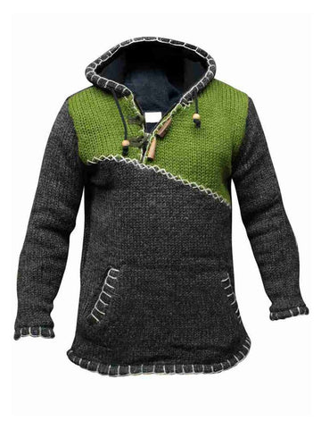 Men's Fashion Contrast Stitching Long-sleeved Hooded Knitted Sweater Jacket
