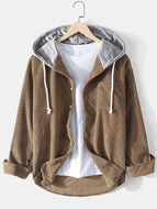 Mens Vintage Solid Color Corduroy Button Chest Pocket Casual Hooded Shirt