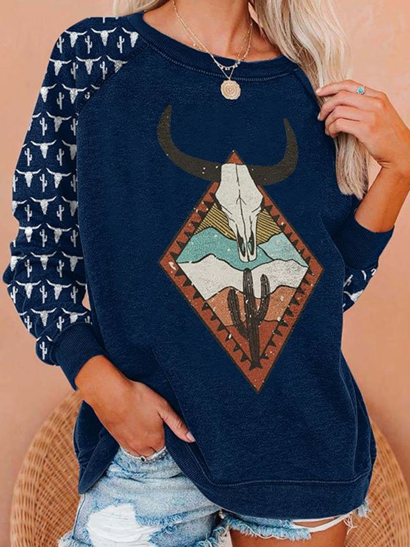 Western Patterned Cow Head Print Round Neck Long Sleeve Tops