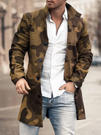 Mid-Length Stand Collar Print European Fall Coat