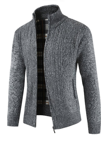 Long-sleeved Solid Color Thick Knitted Stand Collar Sweater Cardigan Men's Jacket