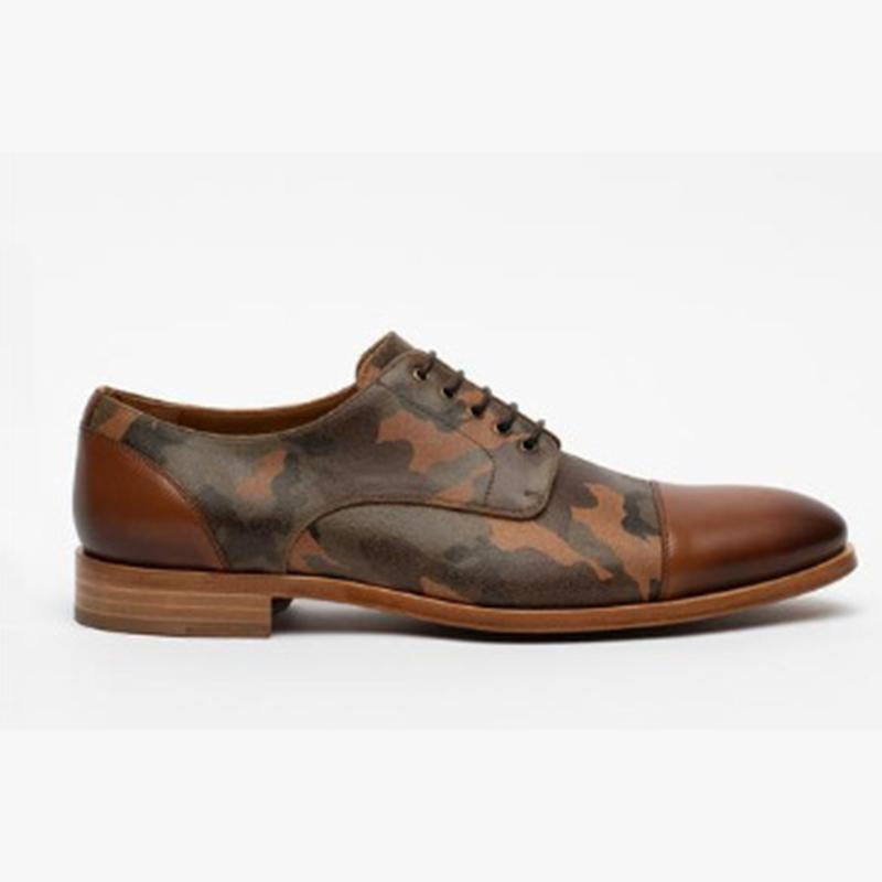 Camouflage Print Lace-up Handmade Retro Business Casual Men's Shoes