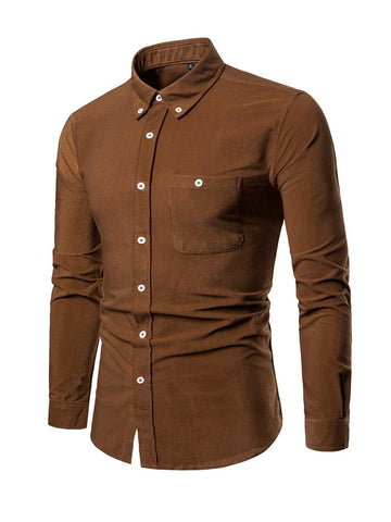 Long Sleeve Solid Color Corduroy Casual Men's Shirt
