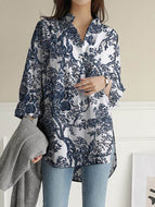 Cotton and Linen Printing Casual Irregular Long-sleeved Blouse