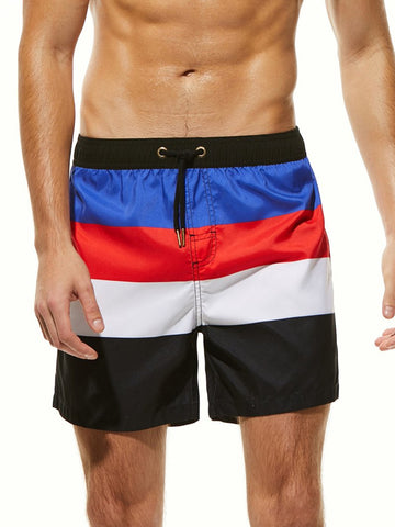 Men's Contrasting Striped Five Points Beach Shorts