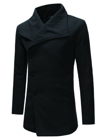 Men's Single-breasted Trench Coat with Diagonal Placket