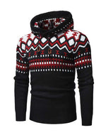 Men's Long Sleeve Fashion Stitching Hooded Pullover Knitted Sweater
