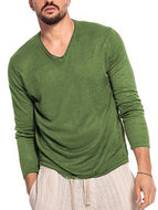 Men's Solid Color Round Neck Long Sleeve Bottoming Shirt