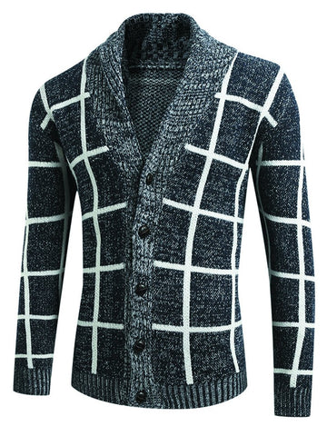 Men's Thick Stitch Plaid Sweater Coat