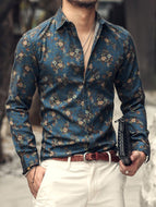 Beach Leisure Vacation Style Floral Print Long Sleeve Men's Shirt