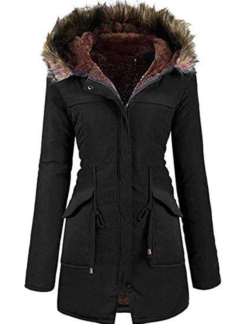 Women's Fur Collar Drawstring Solid Color Casual Jacket