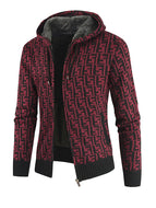 Men's Thick Hooded Cardigan Knitted Fashion Top Sweater Coat