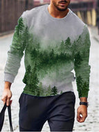 Green Wood Print Crew Neck Sweatshirt