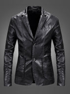 Slim Casual Men's Leather Suit Jacket