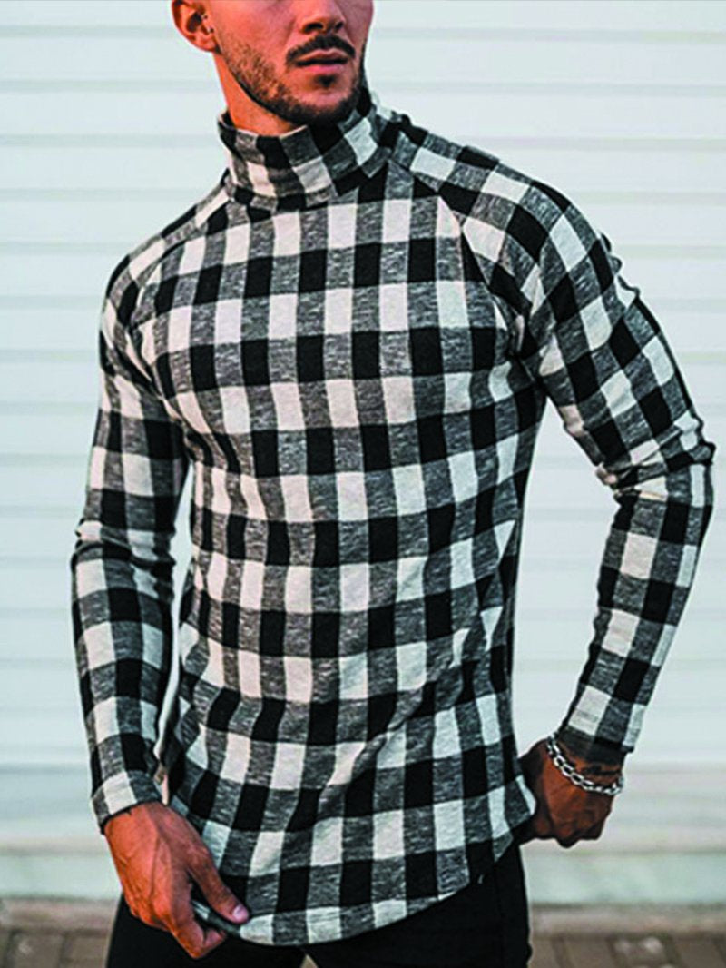 Men's Black and White Small Plaid Long Sleeve T-shirt