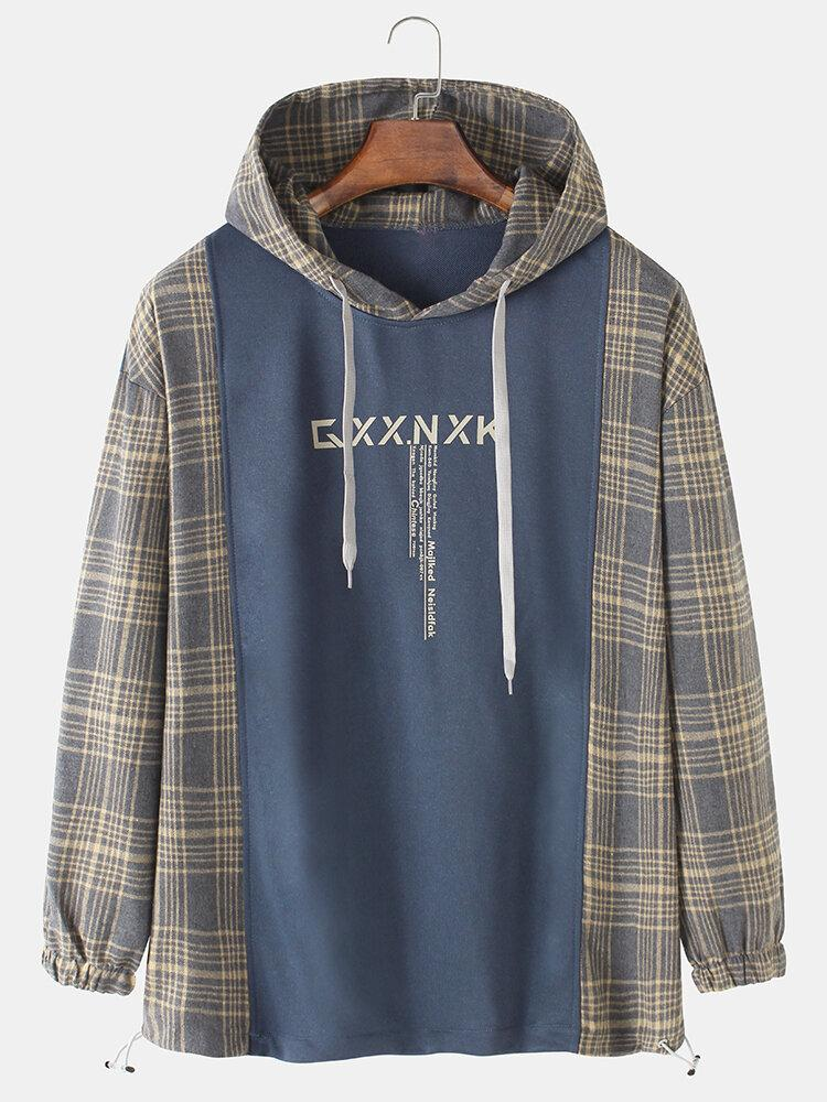 Mens Plaid Patchwork Letter Print Relaxed Fit Drawstring Hem Long Sleeve Hoodies
