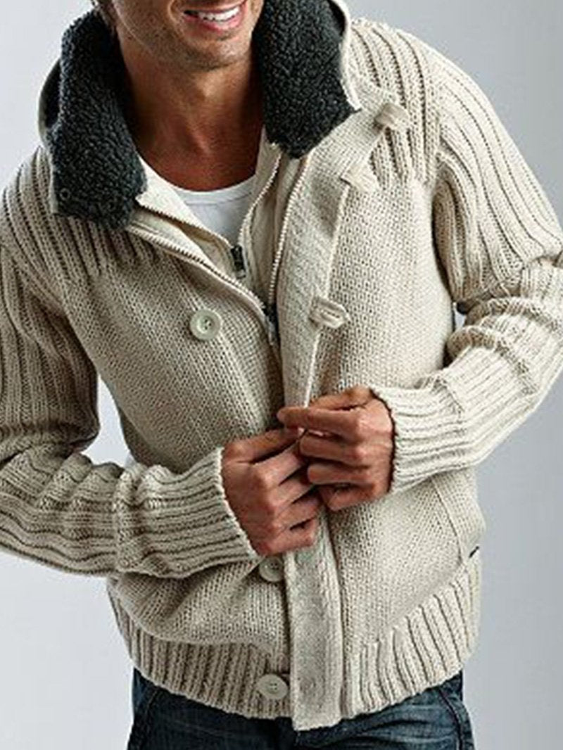 Thick Hooded Solid Color Sweater Coat