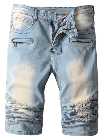 Men's Tooling Big Pocket Slim-fit Denim Shorts