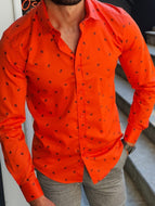 Orange Slim Fit Floral Shirt