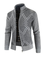 Casual Men's Stand Collar Thickened Diamond Knit Cardigan Sweater Jacket